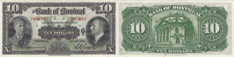 10 dollars 1938 - Bank of Montreal banknotes