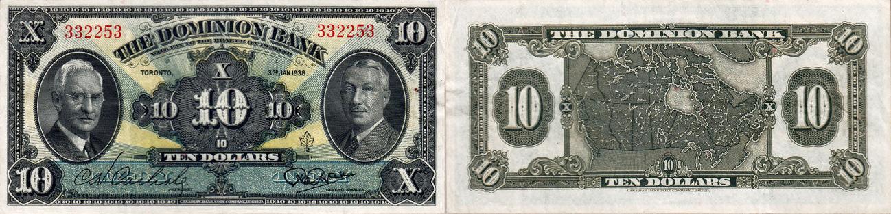 10 dollars 1938 - Dominion Bank banknotes