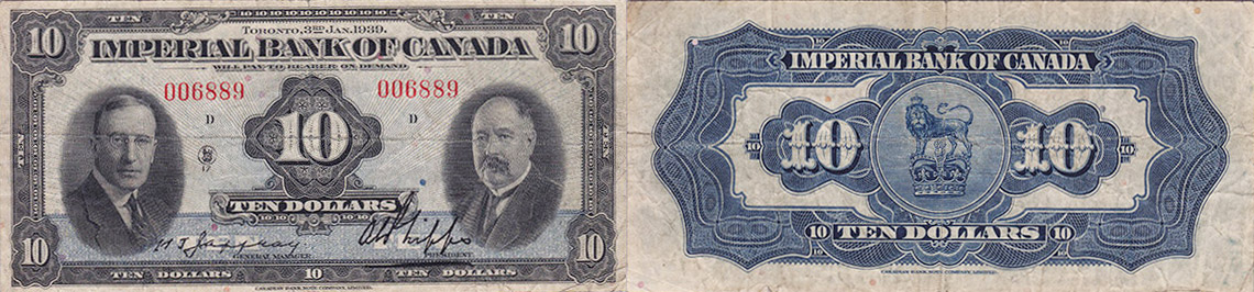 10 dollars 1939 - Imperial Bank of Canada banknotes