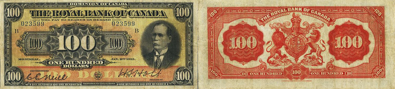 100 dollars 1913 - Royal Bank of Canada banknotes