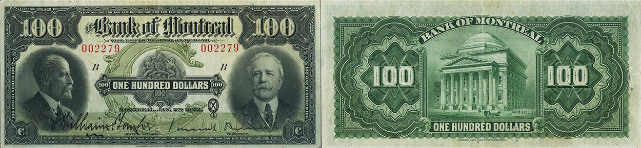 100 dollars 1923 - Bank of Montreal banknotes