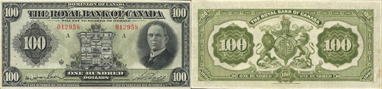100 dollars 1927 - Royal Bank of Canada banknotes