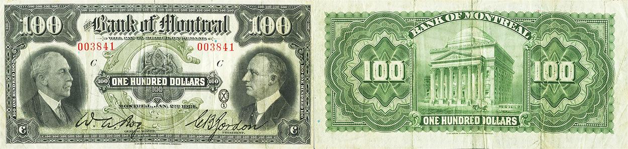 100 dollars 1931 - Bank of Montreal banknotes