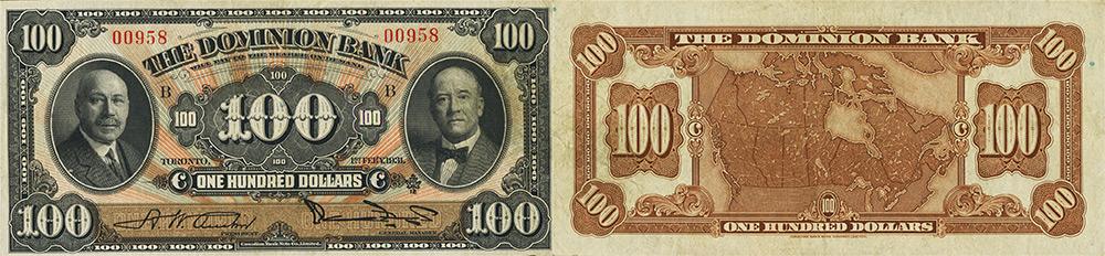 100 dollars 1931 - Dominion Bank banknotes