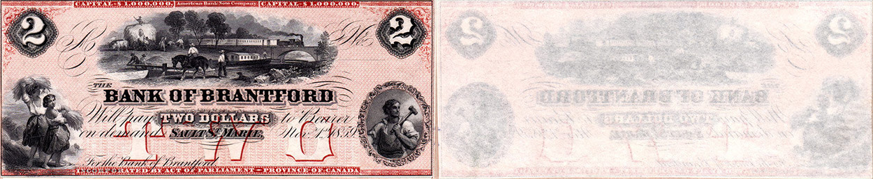 2 dollars 1859 - Bank of Brantford banknotes