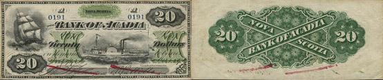 20 dollars 1872 - Bank of Acadia banknotes