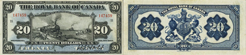 20 dollars 1913 - Royal Bank of Canada banknotes