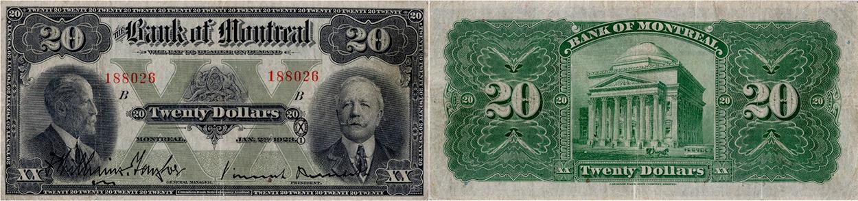 20 dollars 1923 - Bank of Montreal banknotes