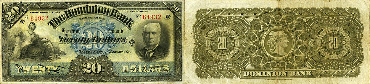 20 dollars 1925 - Dominion Bank banknotes