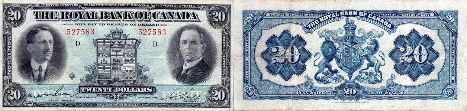 20 dollars 1927 - Royal Bank of Canada banknotes