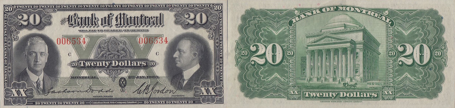 20 dollars 1935 - Bank of Montreal banknotes