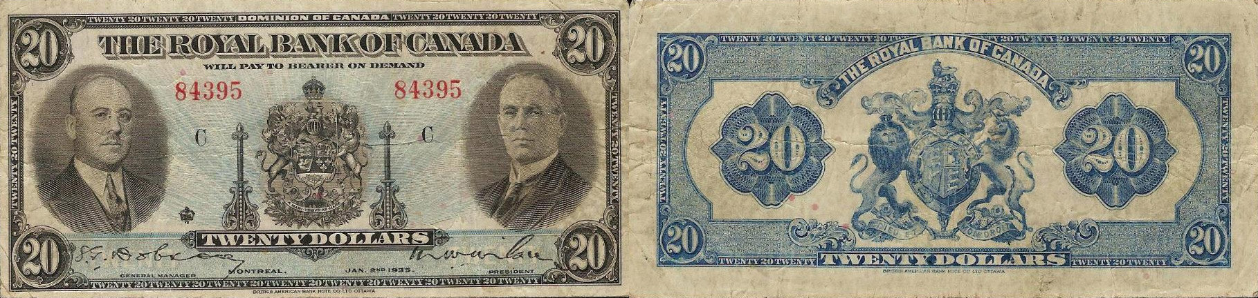 20 dollars 1935 - Royal Bank of Canada banknotes