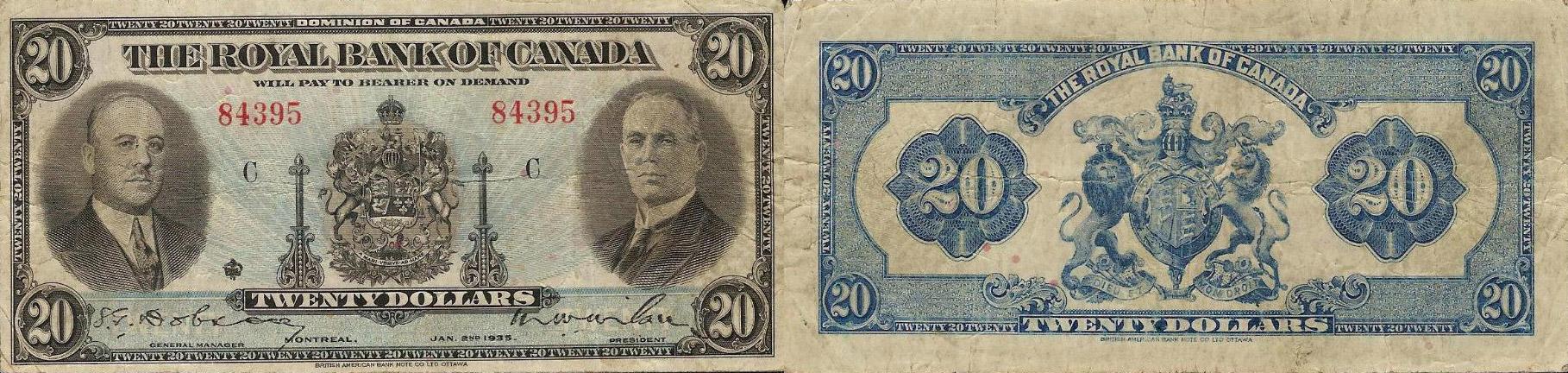 20 dollars 1935 - Royal Bank of Canada banknotes