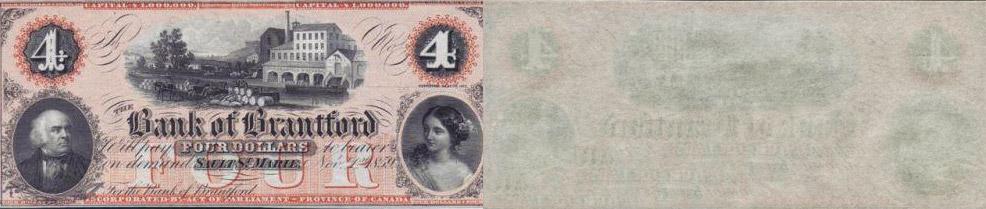 4 dollars 1859 - Bank of Brantford banknotes
