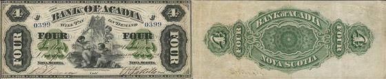 4 dollars 1872 - Bank of Acadia banknotes