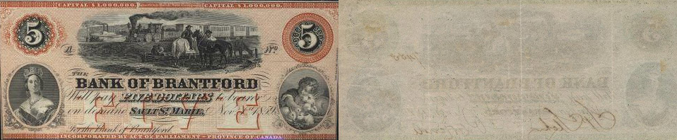 5 dollars 1859 - Bank of Brantford banknotes