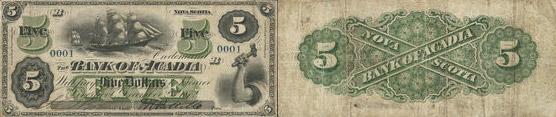 5 dollars 1872 - Bank of Acadia banknotes