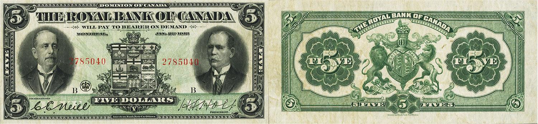 5 dollars 1913 - Royal Bank of Canada banknotes