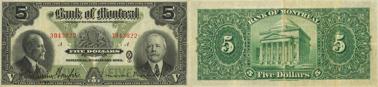 5 dollars 1923 - Bank of Montreal banknotes