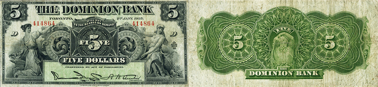 5 dollars 1925 - Dominion Bank banknotes