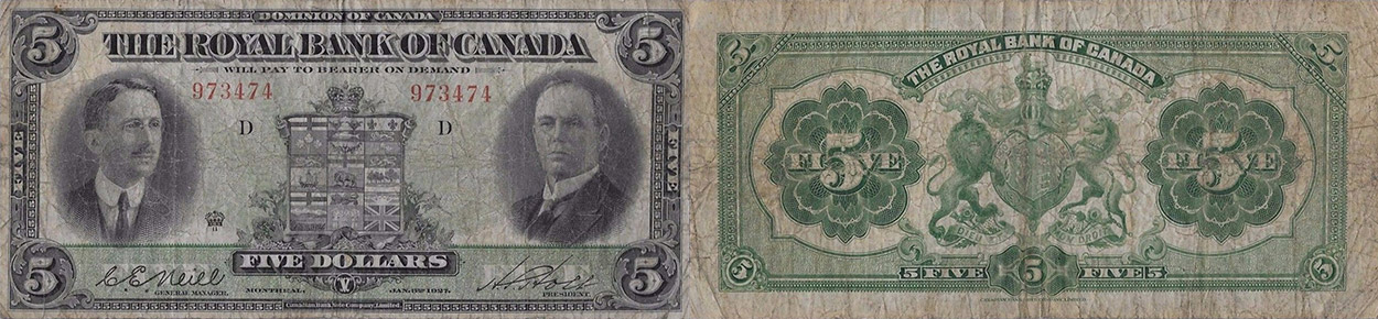 5 dollars 1927 - Royal Bank of Canada banknotes