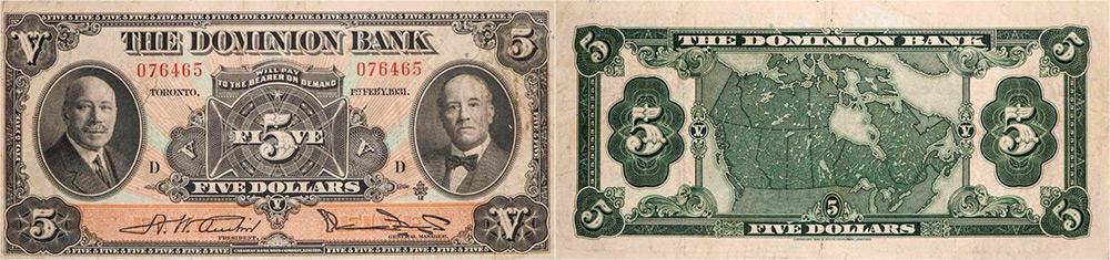 5 dollars 1931 - Dominion Bank banknotes