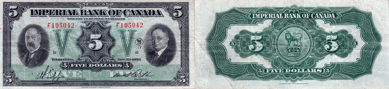 5 dollars 1933 - Imperial Bank of Canada banknotes