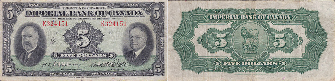 5 dollars 1934 - Imperial Bank of Canada banknotes