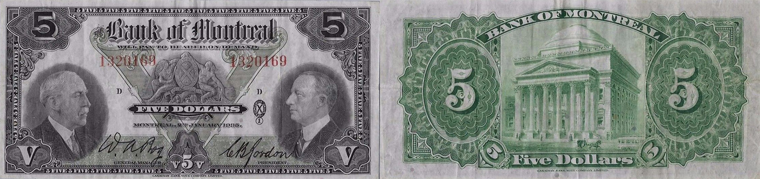 5 dollars 1935 - Bank of Montreal banknotes