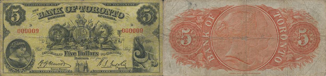 5 dollars 1935 - Bank of Toronto banknotes