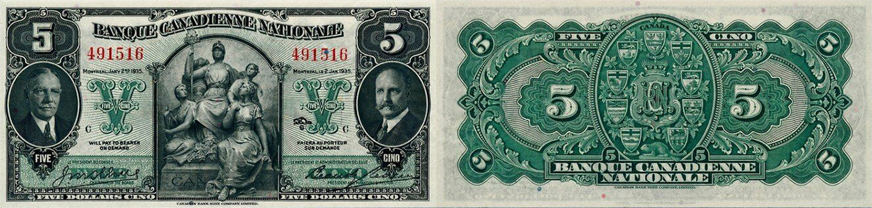 5 dollars 1935 - Banque Canadienne Nationale banknotes