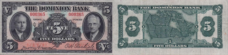 5 dollars 1935 - Dominion Bank banknotes
