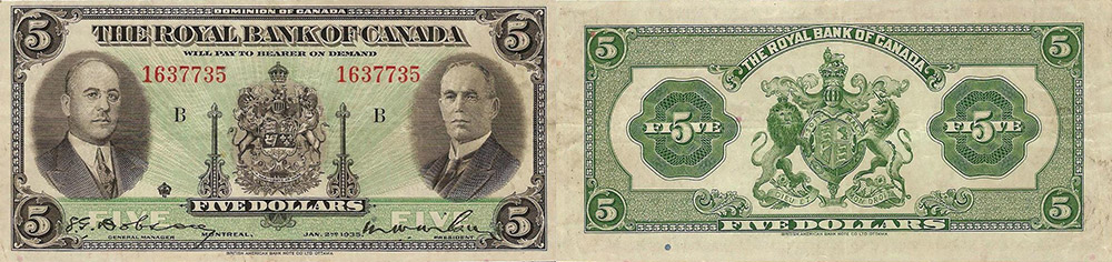 5 dollars 1935 - Royal Bank of Canada banknotes