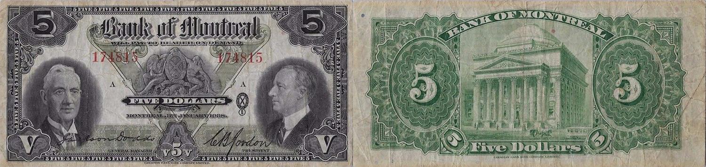 5 dollars 1938 - Bank of Montreal banknotes