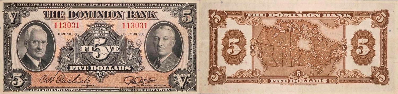 5 dollars 1938 - Dominion Bank banknotes