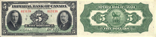 5 dollars 1939 - Imperial Bank of Canada banknotes
