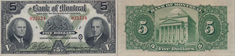 5 dollars 1942 - Bank of Montreal banknotes