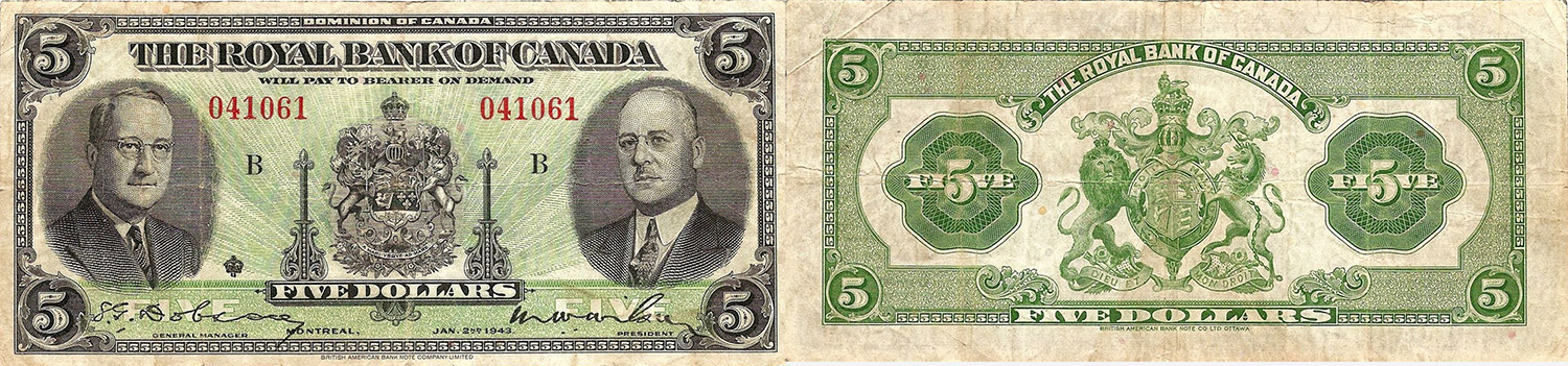 5 dollars 1943 - Royal Bank of Canada banknotes