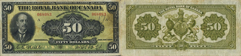 50 dollars 1913 - Royal Bank of Canada banknotes