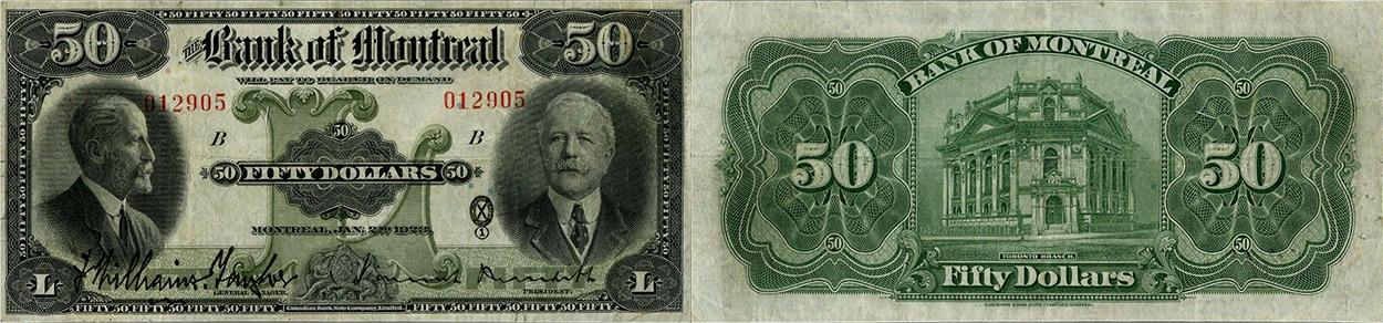 50 dollars 1923 - Bank of Montreal banknotes