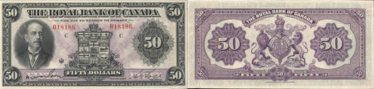 50 dollars 1927 - Royal Bank of Canada banknotes