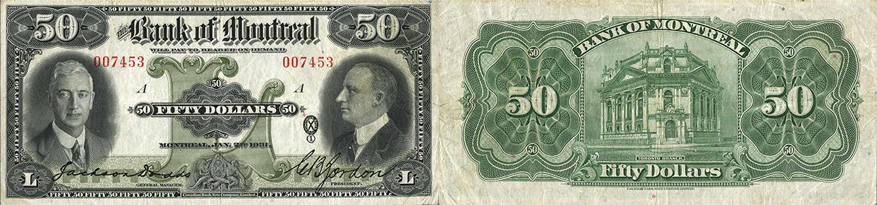 50 dollars 1931 - Bank of Montreal banknotes