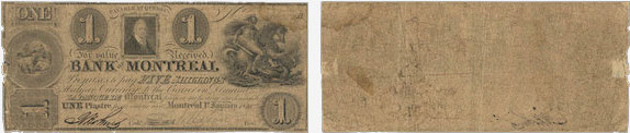 1 dollar 1835 - Bank of Montreal banknotes