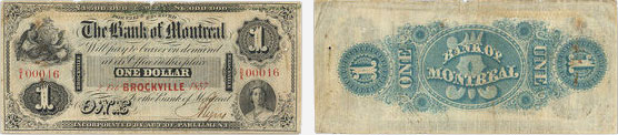 1 dollar 1857 - Bank of Montreal banknotes