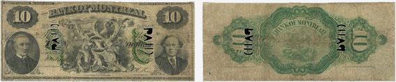 10 dollars 1871 - Bank of Montreal banknotes