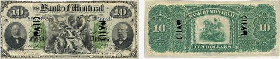 10 dollars 1882 - Bank of Montreal banknotes
