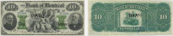 10 dollars 1888 - Bank of Montreal banknotes