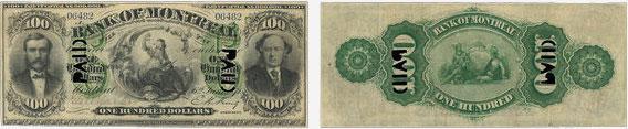 100 dollars 1871 - Bank of Montreal banknotes