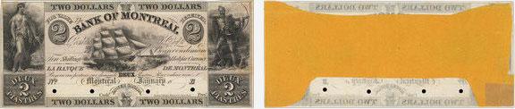 2 dollars 1839 - Bank of Montreal banknotes
