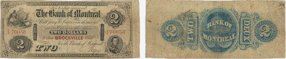 2 dollars 1857 - Bank of Montreal banknotes